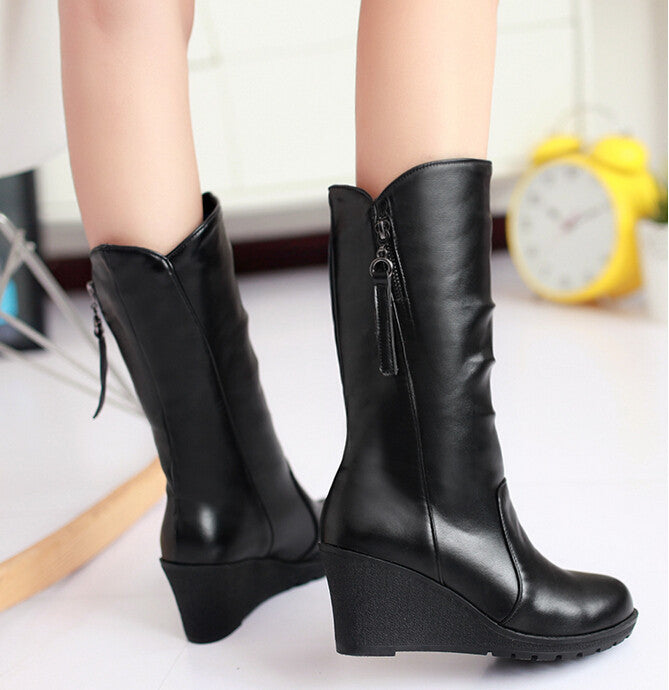 Women Mid Calf Wedges Boots Slip On PU Leather Autumn Spring Boots - Style Lavish