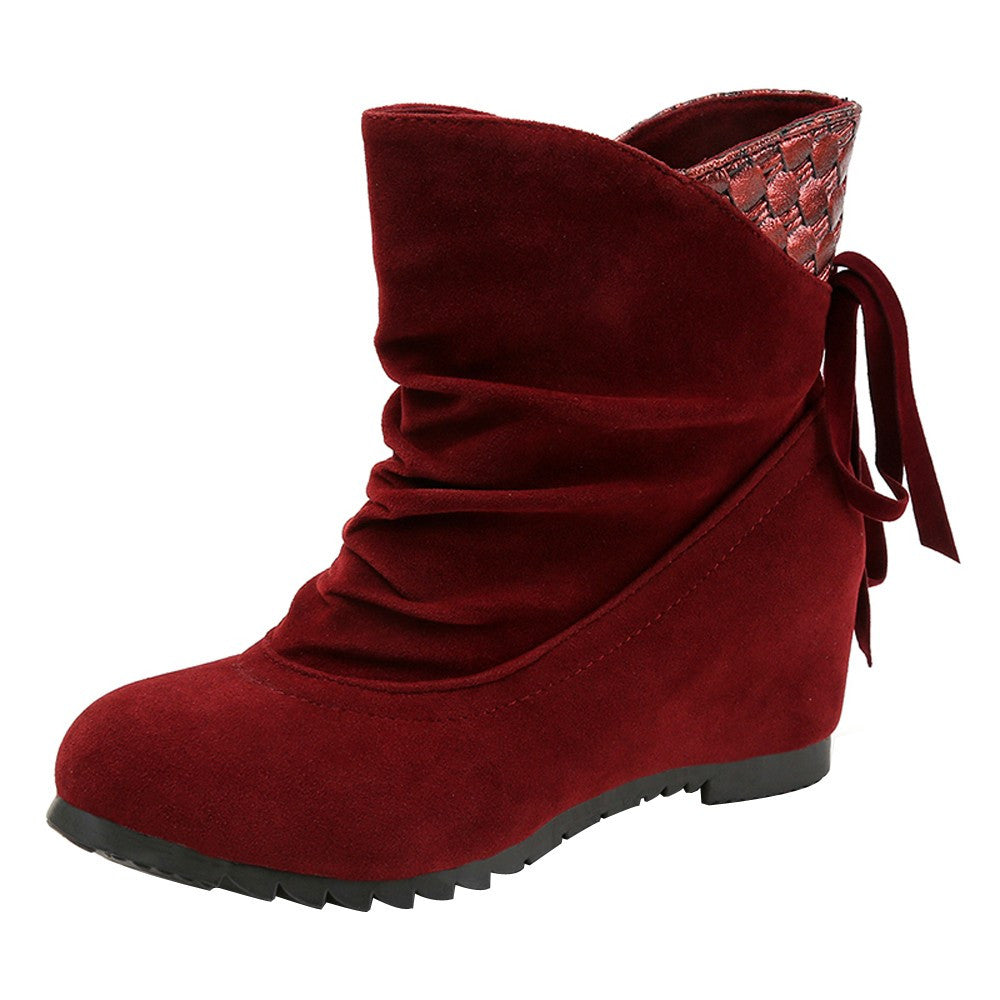 Women Boots Flat Low Slip-On Wedges Ankle Boots Casual Shoes Martin Boots