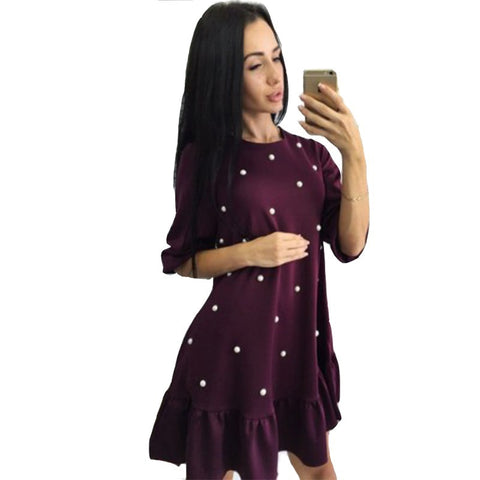 Women Beading Ruffle Casual Dress Autumn Fashion Woman Half Sleeve O-Neck Mini Dresses Ladies Vintage A-Line Solid Dress
