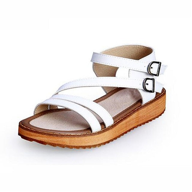 Woman Sandals Shoes Summer Style Wedges Flat Sandals Women Fashion Slippers Rome Platform Genuine Leather