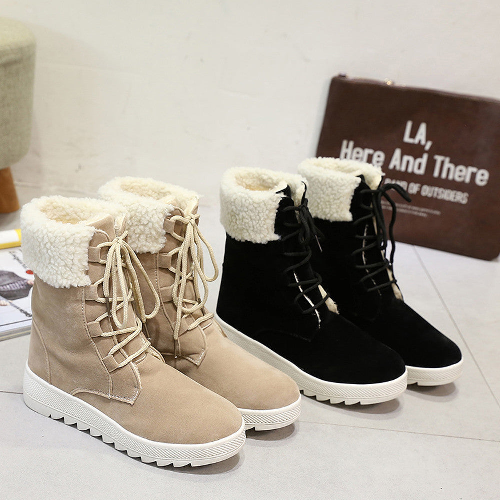 Women Boots Winter Boots Warm Mid Calf Boots Warm Winter Shoes
