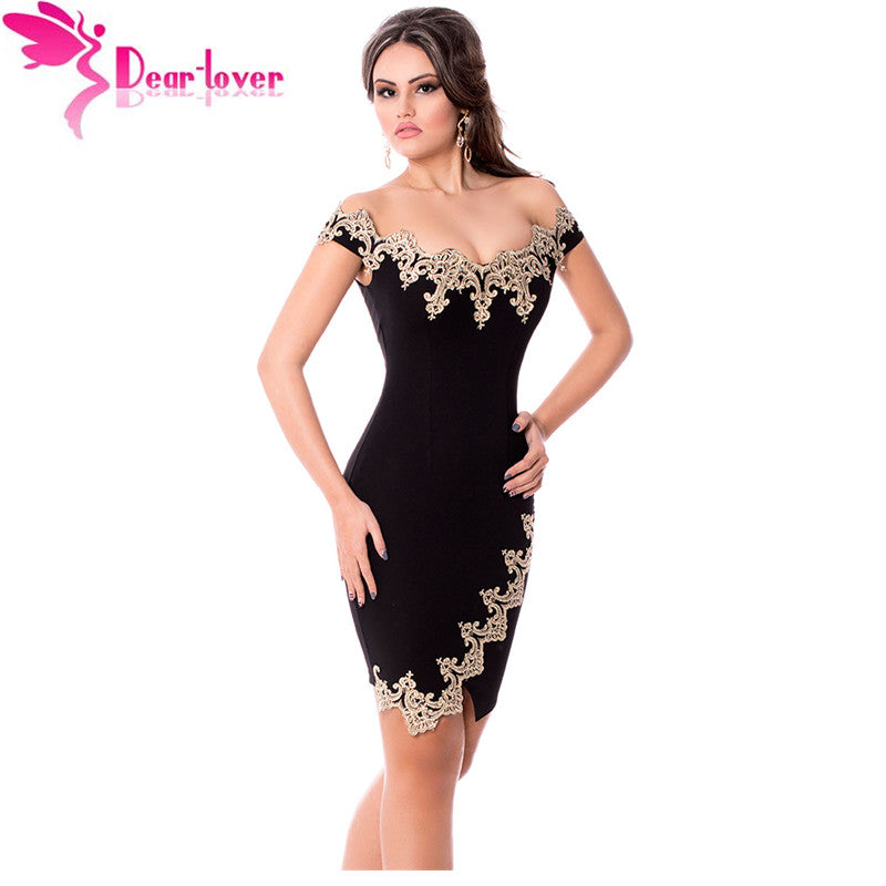 Sexy Party Gold Lace Applique Black Off Shoulder Mini Dress