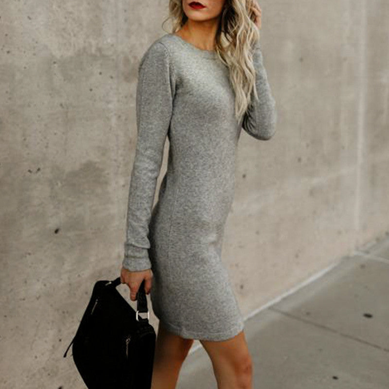 Lace Up Autumn Winter Modal Dress Women Solid Basic Short Dresses Casual Long Sleeve Dress