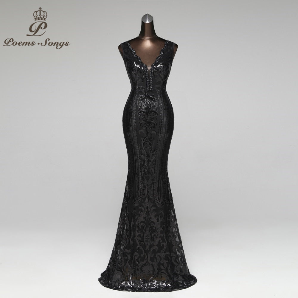 bed3ef339b Double-V Long Evening Dress Sexy Backless Luxury Gold Sequin Formal Party  Dress Prom Gowns
