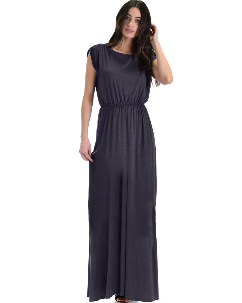 Timeless Maxi Dress With Elastic Waist & Side Slit