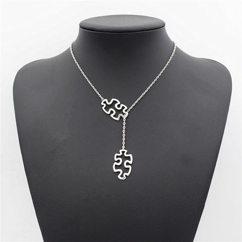 Fashion Casual Tibetan Silver Autism Jewelry Awareness Jigsaw Double Puzzle Piece Pendant Adjustable Cross Lariat Necklace