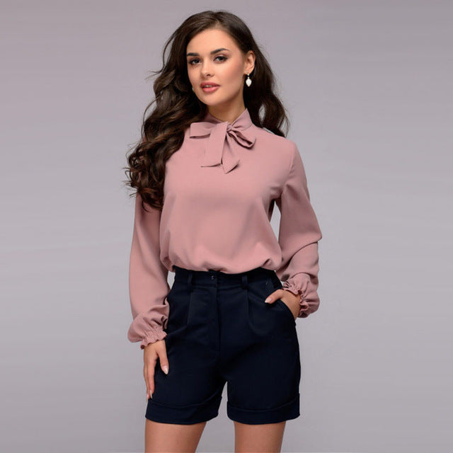 9977a79809b Women Casual Bow Tie Solid Blouse Autumn New Fashion Stand Collar Long
