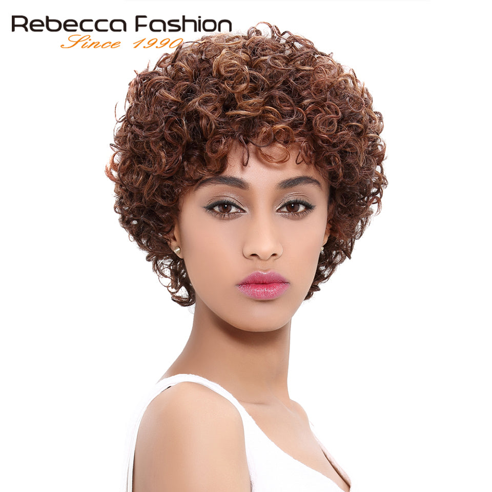 ... Short Loose Curly Wigs For Black Women Peruvian Remy Bouncy Curly Human Hair  Wig ... 4049e69b0