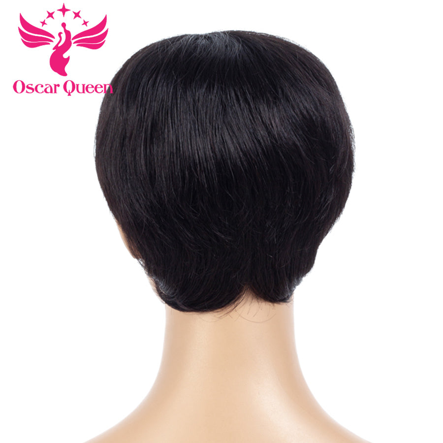 Short Straight Human Hair Wigs Indian Remy Hair Bob Wig By Hairstylist Natural color Full Machine Made Lace Wig For Women