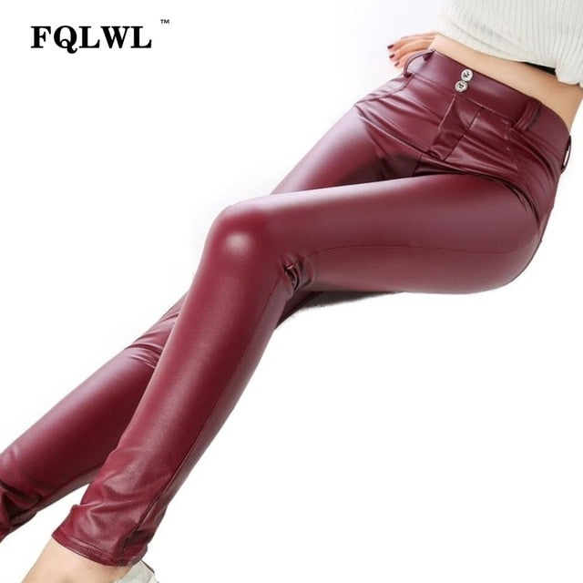 Faux Pu Leather Leggings Thick Black Push Up High Waist Leggings Women Winter Legging Sexy Pants