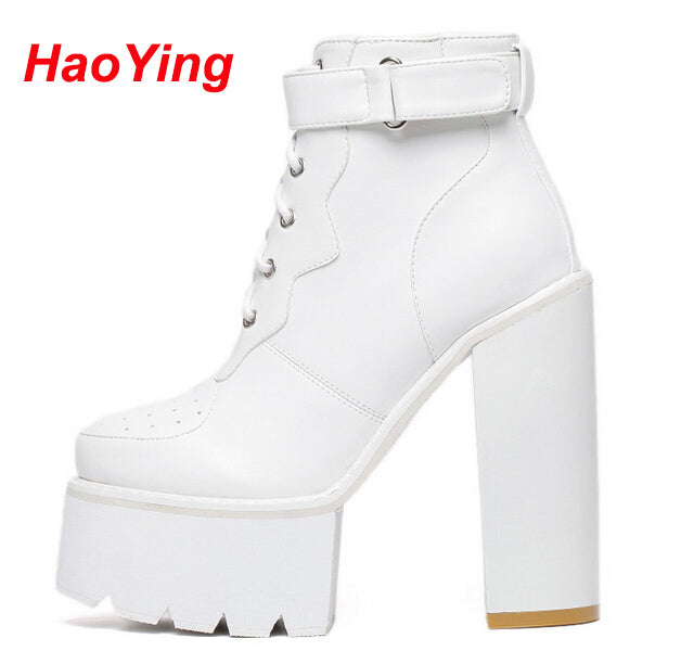 Women Punk Pumps Winter Autumn Shoes High Heels Motorcycle Women Ankle Boots White Platform Boots