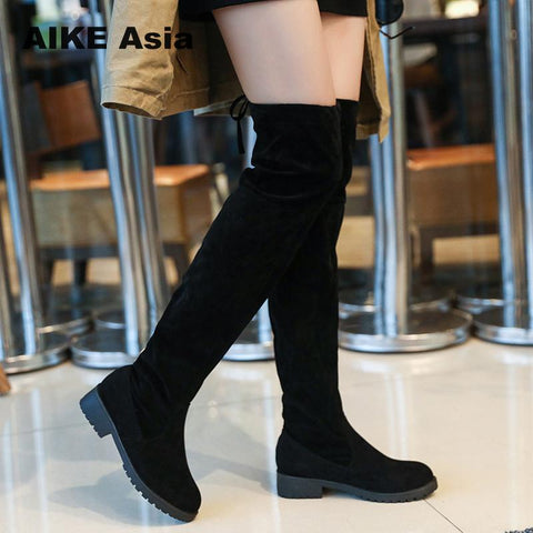 71341189d564 Winter Over The Knee Boots Women Stretch Fabric Women Thigh High Sexy Lace  Up Woman Flat Shoes Long Boots