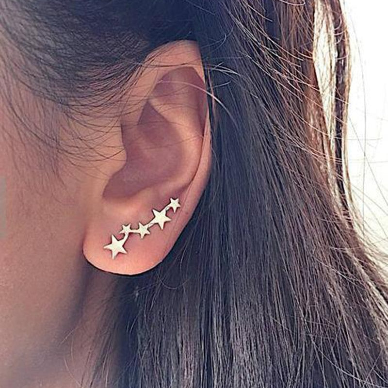 Moon Star Ear Climber Tiny Star Moon Stud Earrings For Women Everyday