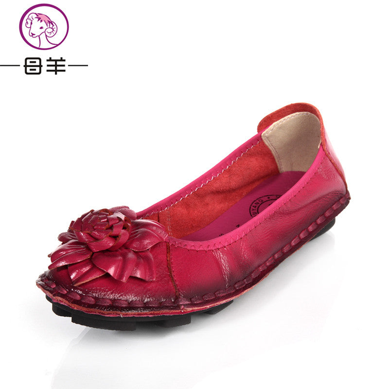 Women Genuine Leather Shoes Hand-sewn Flats Cowhide Flexible Women Loafer - Style Lavish