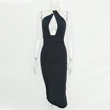 Hollow Out Party Bodycon Bandage Dress Women Off Shoulder Choker Long Pencil Dress Backless Split Winter Dress