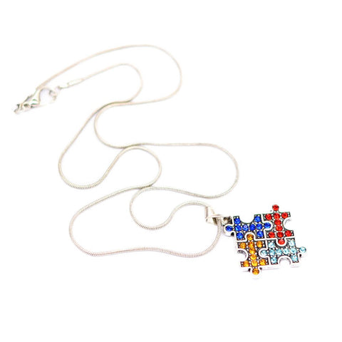 Crystal Autism Hope Jewelry Multi-Colored Enamel Autism Awareness Puzzle Piece Heart Pendant Chain Necklace