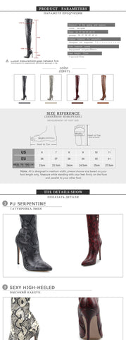Thigh High Over the Knee Boots for Women Shoes Snakeskin Pointed Toe Super Thin High Heels Long Boots