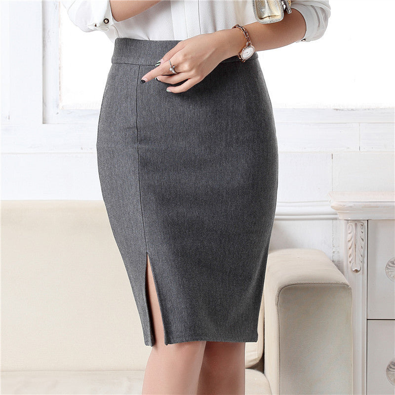 Women Fashion Formal Pencil Skirt Autumn Winter Elegant Slim Front Slit Midi Skirt  OL Skirts