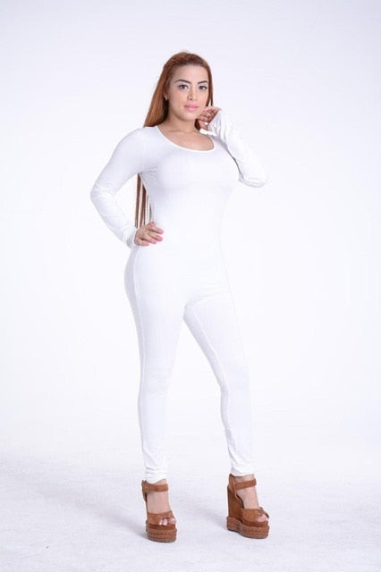 4dbd44839fe Long Sleeve O-Neck Long Pants Women Jumpsuits Fashion Bodycon Solid Co