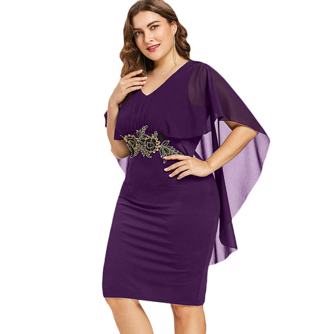 Embroidery Capelet Dress V Neck Half Sleeve Sheath Midi Sundress Summer OL Party Women Dresses