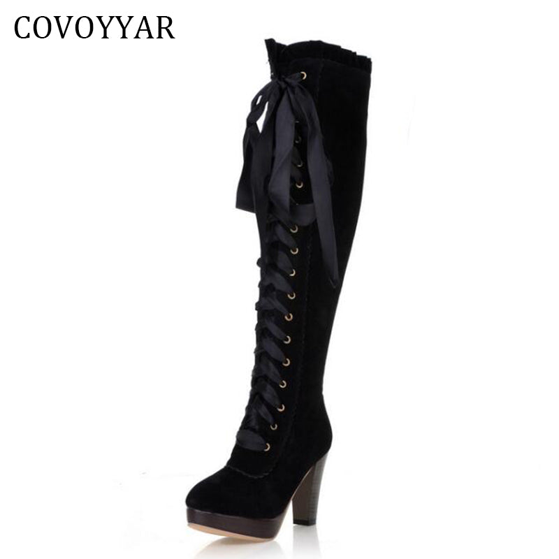 d8f9a7dd912 Fashion Knee High Boots British Women High Heeled Riding Knight Boots Fall  Winter Lace Up Women Shoes