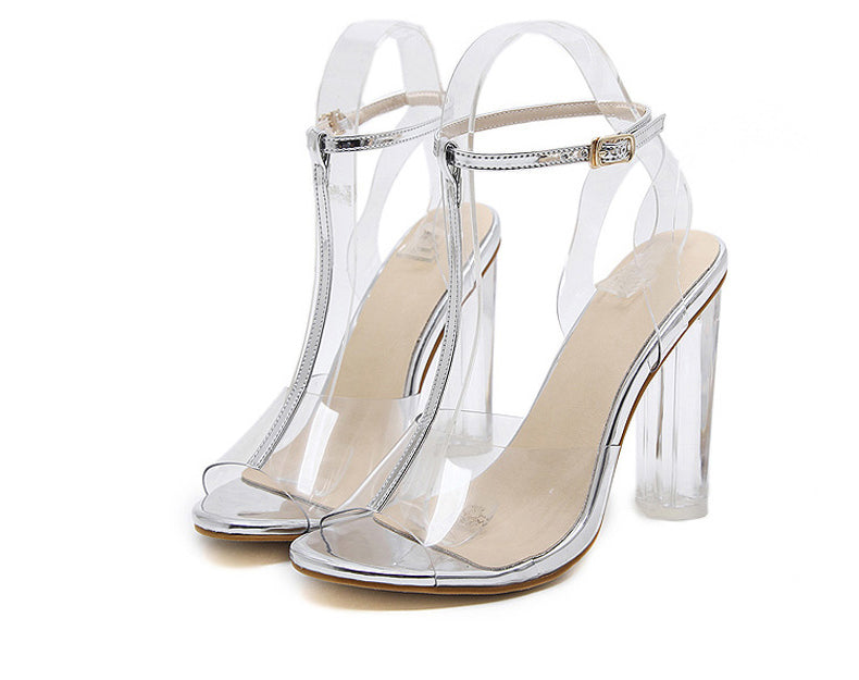 0b1435feb5 Jelly Sandals Open Toe High Heels Women Transparent Perspex Slippers T
