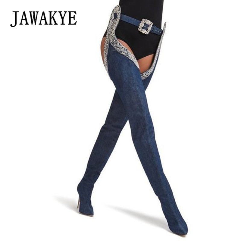 Denim Blue Jeans Thigh high Pant boots Women Sexy Rhinestone Buckle High heels Cowboy knight boots