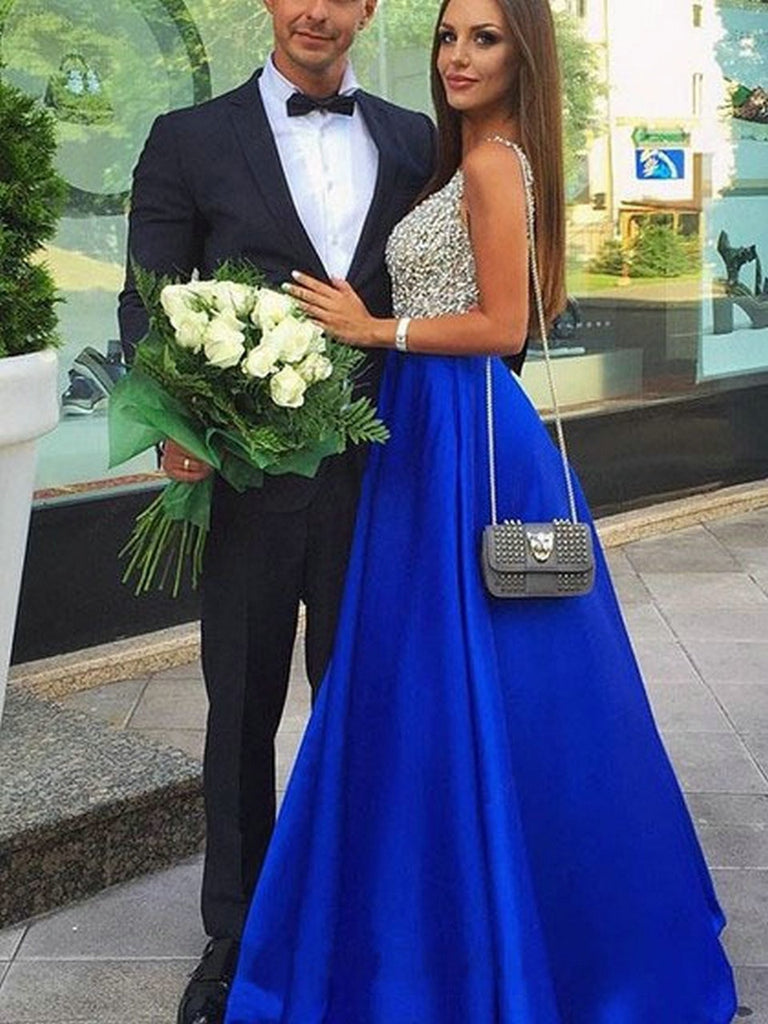 Royal Blue Evening Dresses Party Gowns Long Formal V-Neck Satin Beading Backless Beach Women Dress Prom