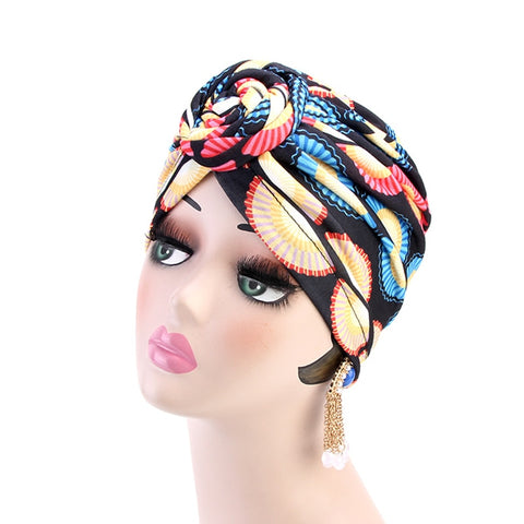 Women Turban African Pattern Knot Headwrap Fashion Warm Bandana Hats