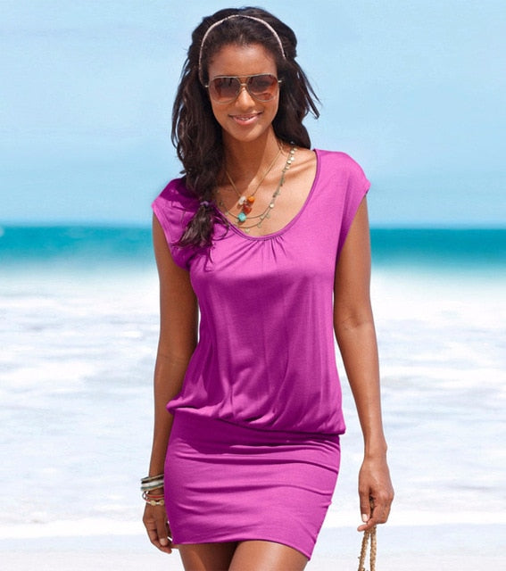 Women Dress Summer Style Beach Dress Fashion Short Sleeve Round Neck Casual Dresses Mini Dress