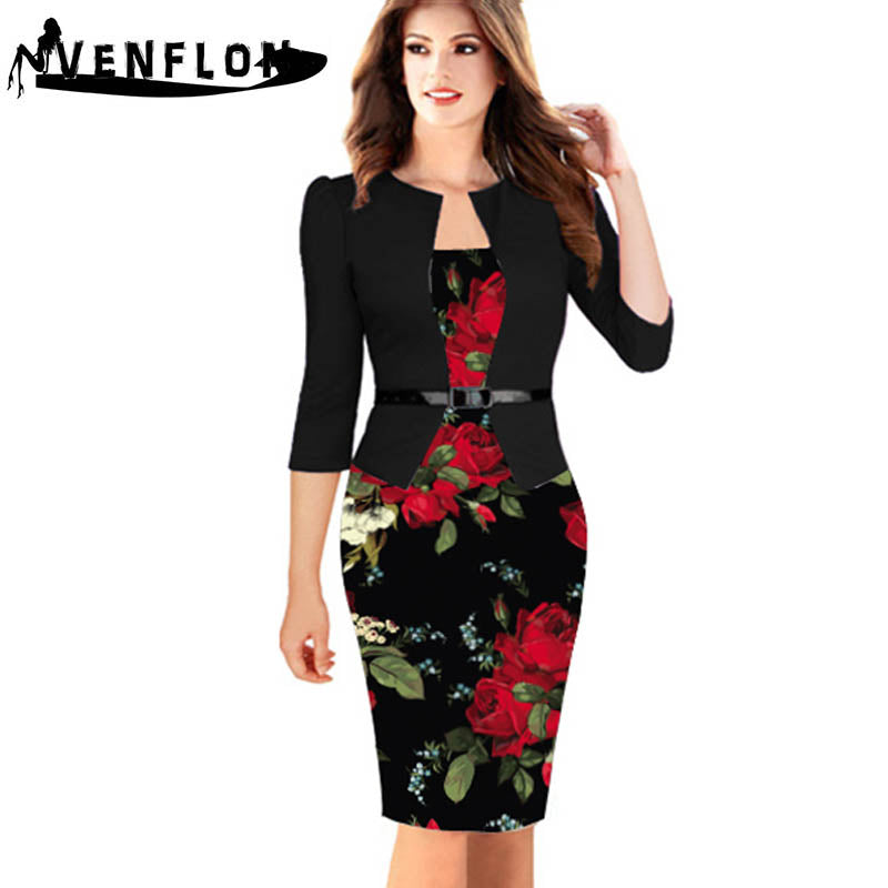 9ce179e91a4 ... Vintage Spring Summer Dress Women Slim Office Pencil Bodycon Dress  Casual Party Dresses ...