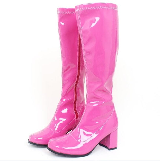 Woman Rubber Boots Square Heel Knee-High Classic Square Toe Boots PU Leather Zip Boots Ladies Party Dress Dance Shoes