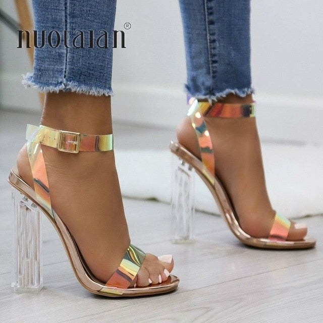 6d53fc998c1d5 Summer PVC Clear Transparent Strappy High Heels Shoes Women Sandals Pe