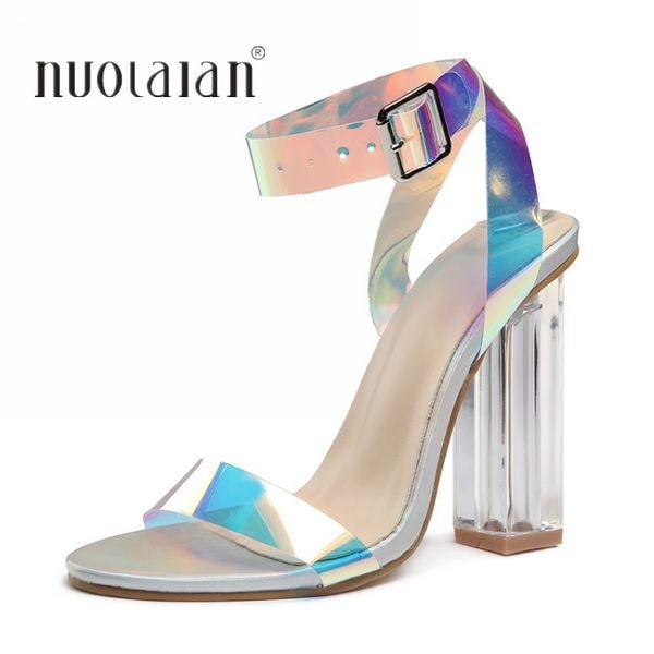 080a8ed0bd9 Summer PVC Clear Transparent Strappy High Heels Shoes Women Sandals Peep  Toe Sexy Party Ladies Shoes Woman sandals
