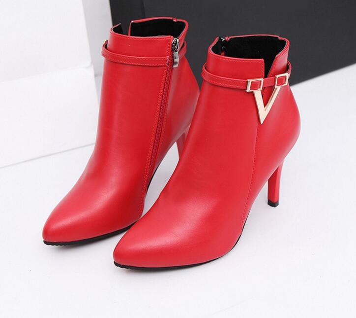 Spring Autumn Stiletto Thin High Heels Pointed Toe PU Martin Boots Faux Leather Zipper Style Sexy Women Ankle Boots