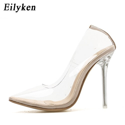 Clear PVC Transparent Pumps Sandals Perspex Heel Stilettos High Heels Point Toes Women Party Shoes Pump