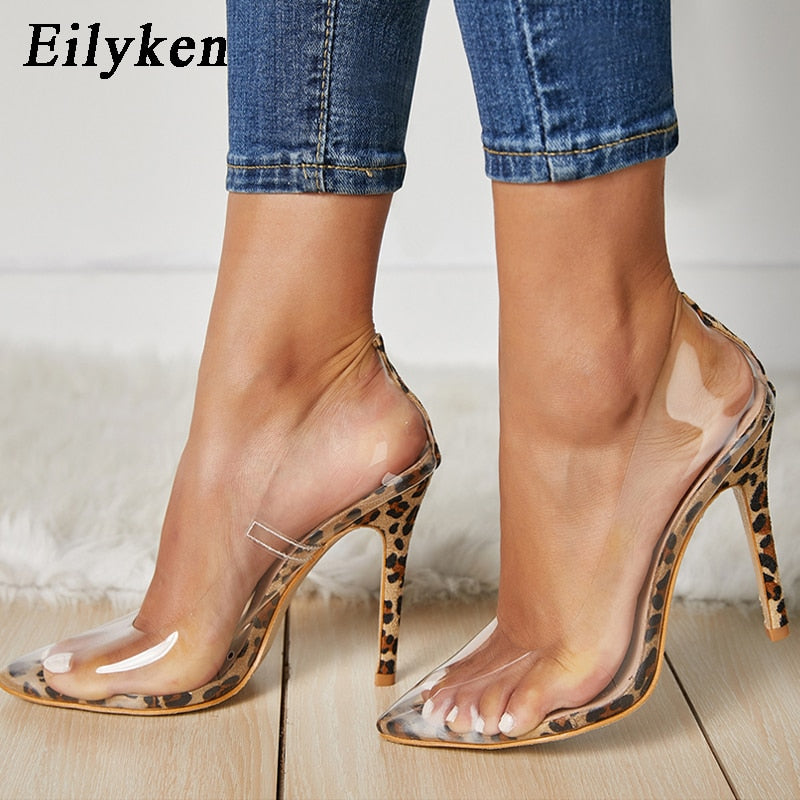 ed2e5a13a54 Clear PVC Transparent Pumps Sandals Perspex Heel Stilettos High Heels Point  Toes Women Party Shoes Pump
