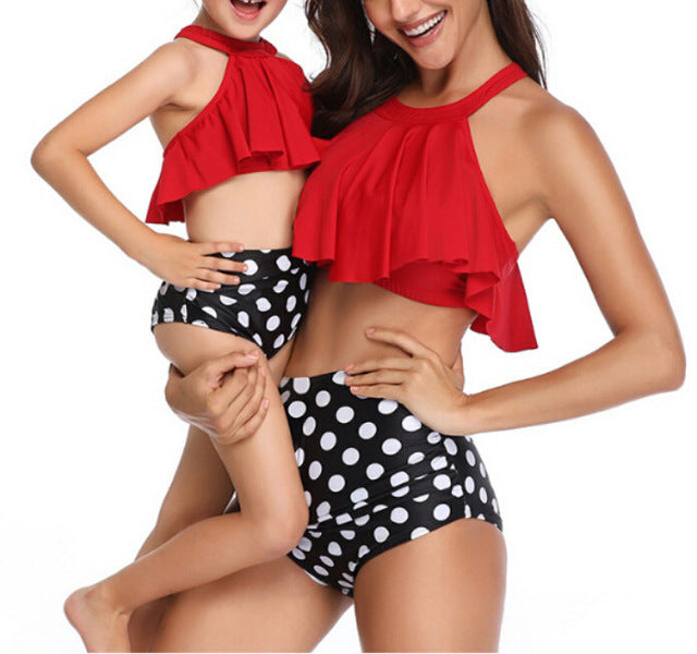 Womens High Waist Swimsuit Bikini set Mother Girl Floral Ruffles 2PCS Bathing Suit Swimwear Family Matching Beachwear