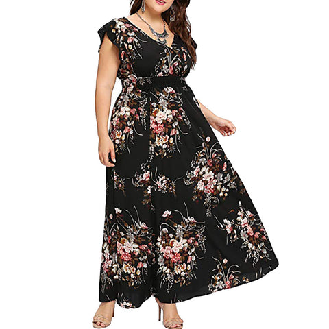 Women Summer V Neck Floral Print Boho Sleeveless Party Maxi Dress   Colorful Comfortable Breathe Fashion