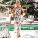 Boho Floral Print Straps Long Dress Women Sexy Casual Backless Summer Beach Maxi  Dresses