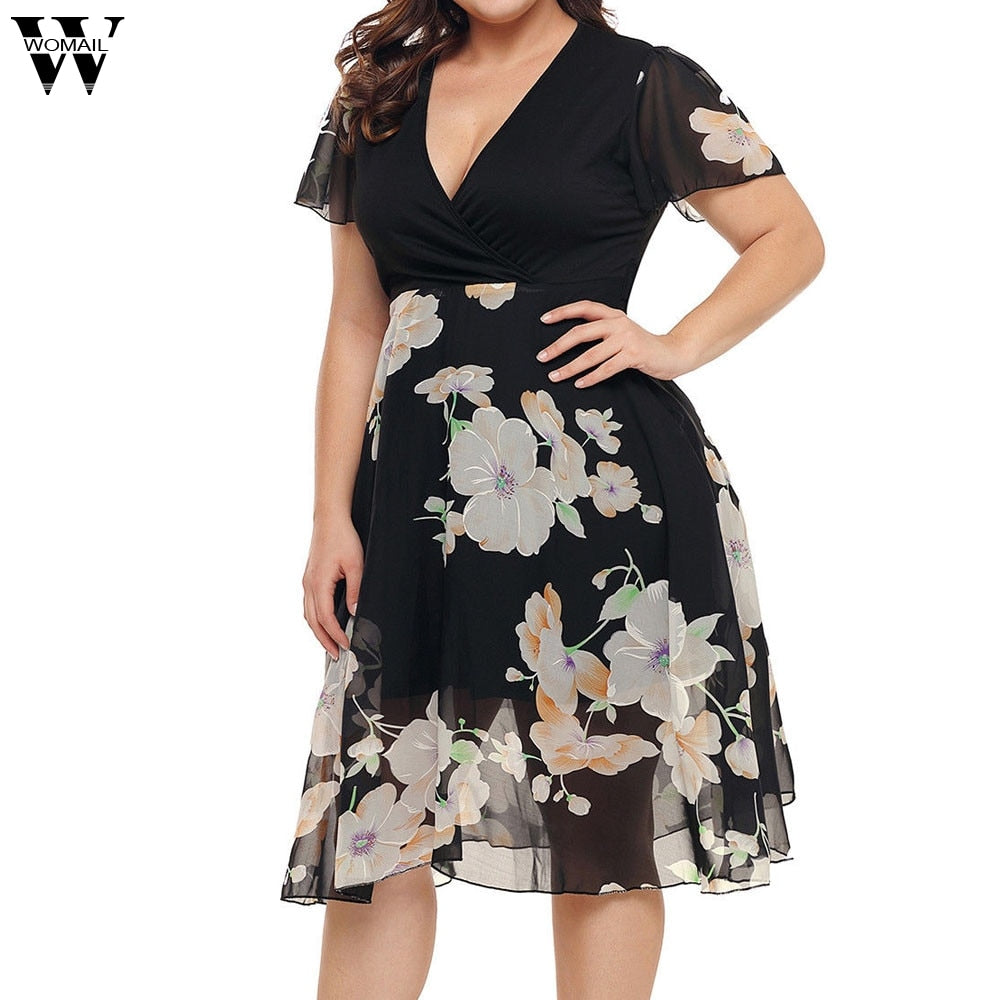 7734679150 Women Dress Fashion Chiffon V Neck Short Sleeve Dress Floral Dresses