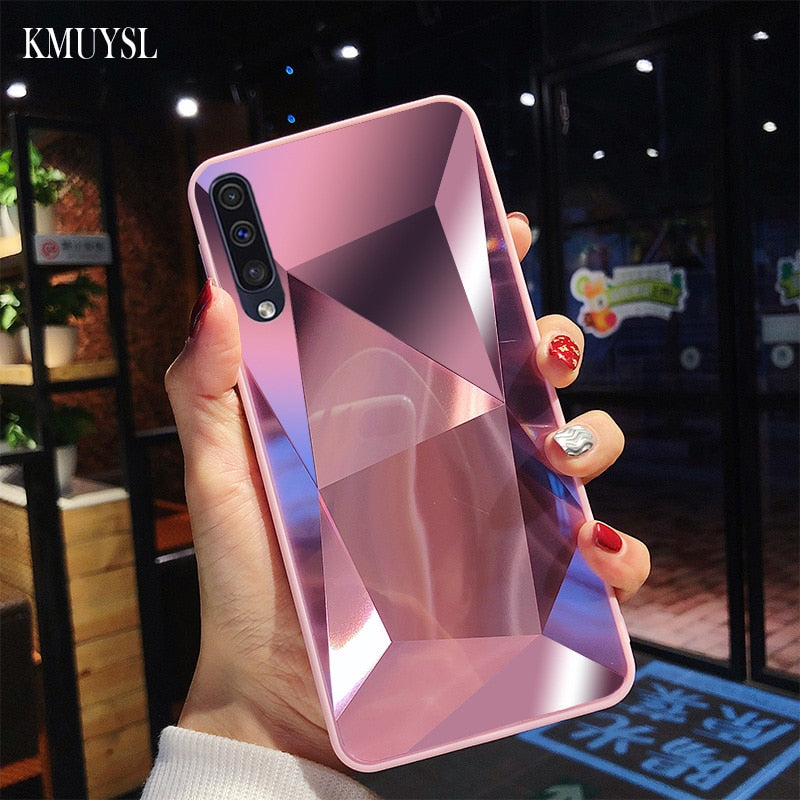 dd868d1ab3 ... For Samsung Galaxy A50 Case Luxury Diamond Texture Mirror Glossy Back  Cover For Samsung Galaxy M30 ...