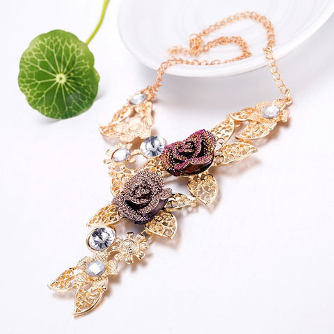 Fashion Multilayer Gold Color Purple Crystal Rhinestone Leave Bohemia Flower Statement Necklaces Jewelry Set For Women Wedding