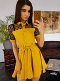 Summer Dress Dot Lace Patchwork A-Line Dress Office Lady Casual Turn-down Collar Mini Dress Short Sleeve Women's Dress