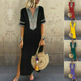 Women Short Sleeve V Neck Boho Maxi Dress Ladies Holiday Beach Split Dress Fashion Loose Classical Sundress