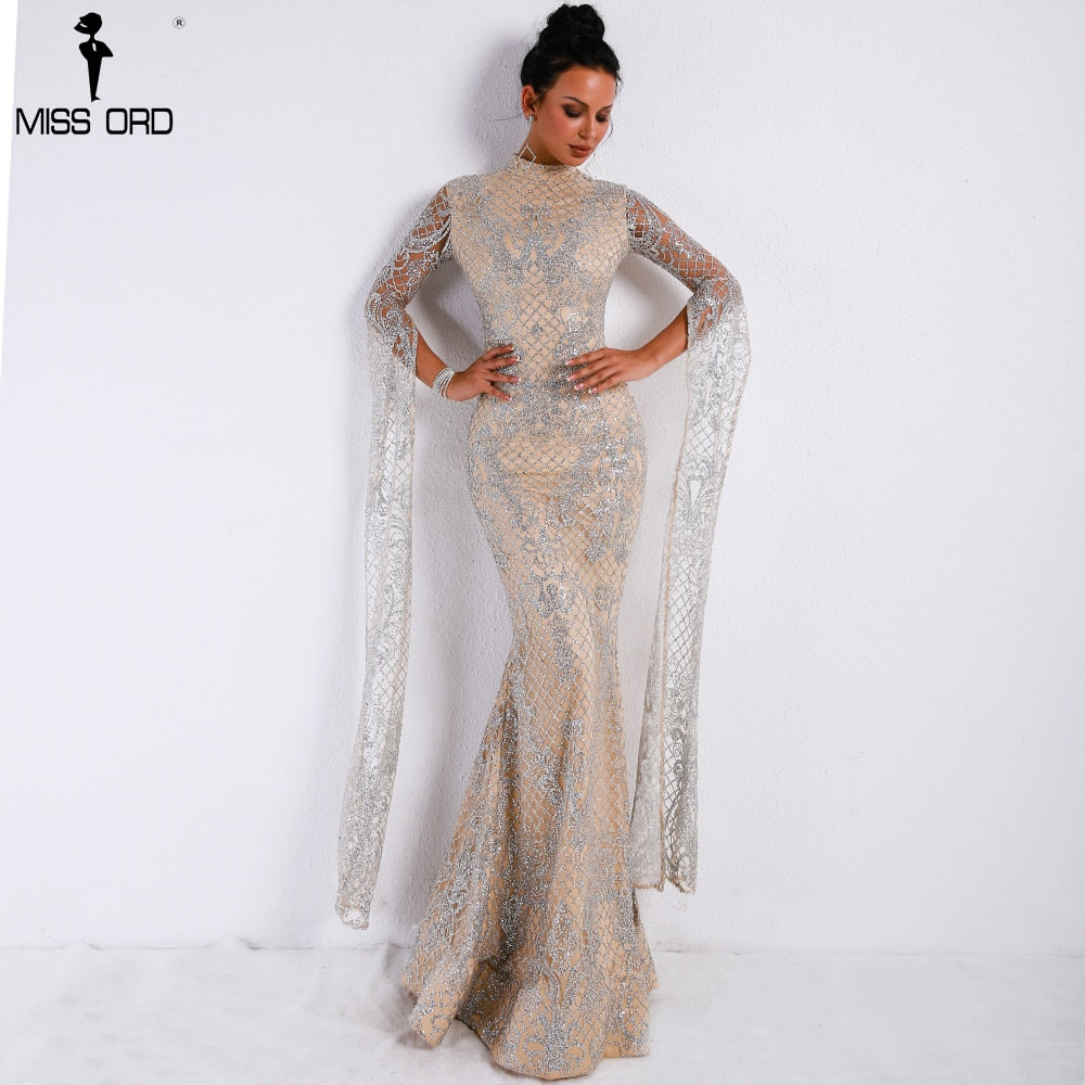 Women Sexy  High Neck Long Sleeve Split Glitter Dress Maxi Elegant Party Dress