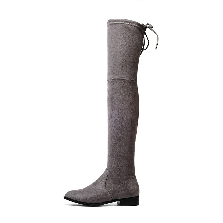 Shoes Square Low Heel Women Over The Knee Boots Scrub Black Pointed Toe Woman Motorcycle Boots