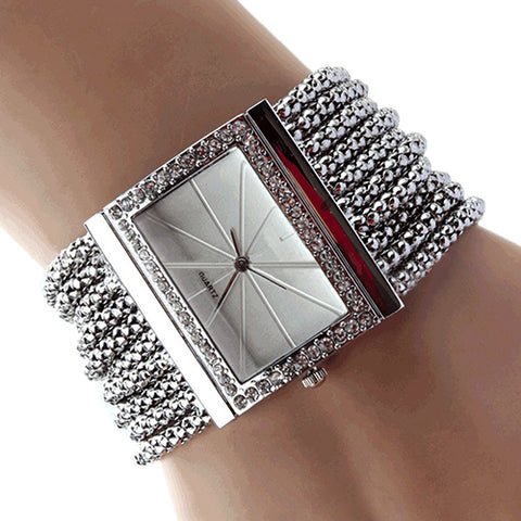 Fashion Alloy Silver Band Quartz Wtach Luxury Women Rhinestone Bangle Bracelet Watch Dress Ladies Wrist Clock