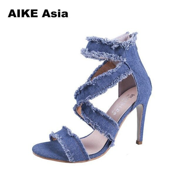 Peep Toe Gladiator Shoes Women Pumps Open Toe Heels Denim High Heels Cutout Stiletto Zip Thin Heels Party Shoes  Super High Cross