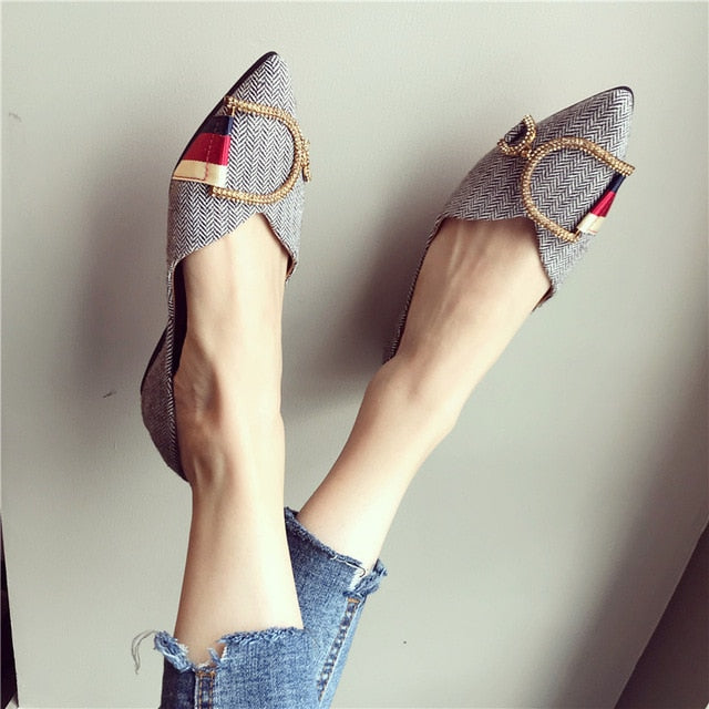 Spring Autumn Women Flat Shoes Casual Shoes Woman Comfortable Pointed Toe Flat Shoes